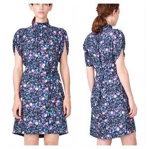 Rebecca Taylor Ruby Floral Petal Sleeve Silk Dress